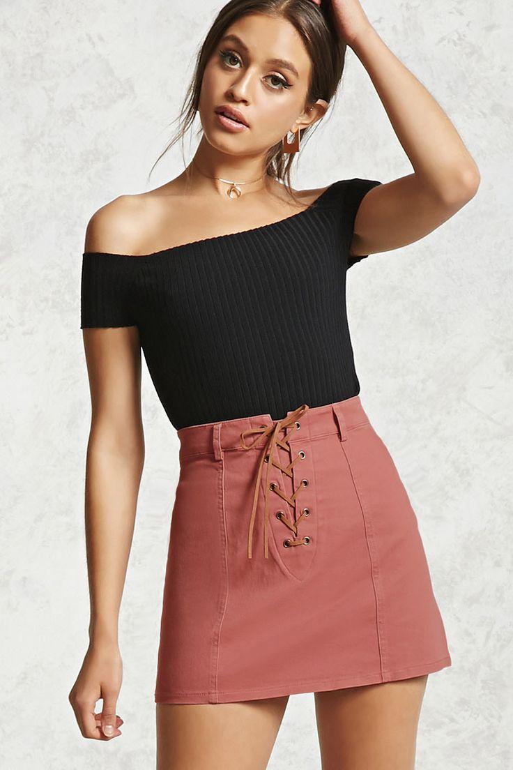 Lace-Up Denim Mini Skirt