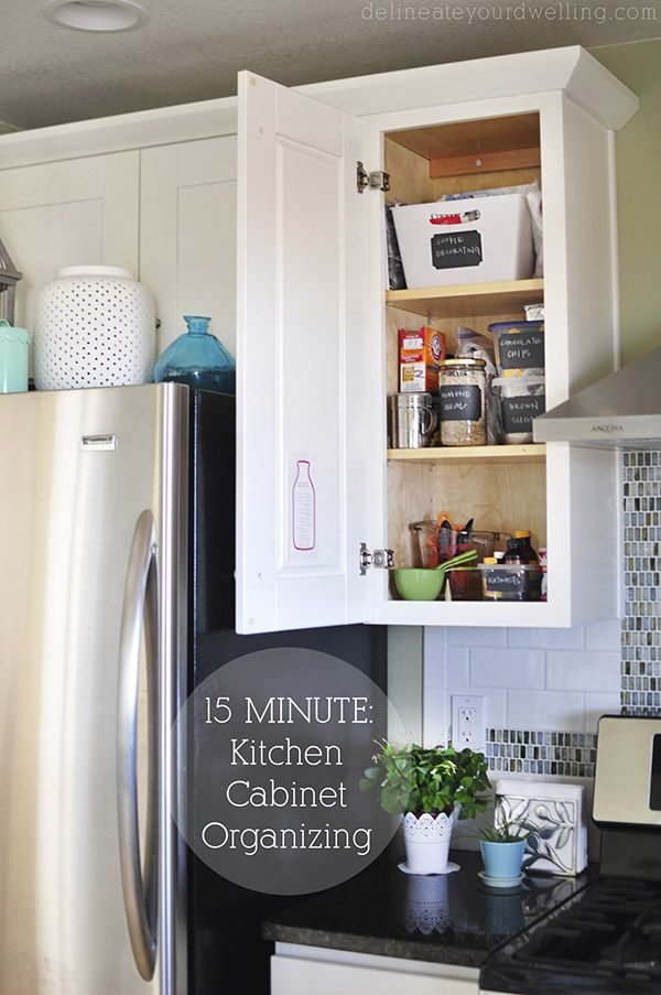 15 Minutes Kitchen Cabinet Organizing! How did I not do this earlier?! It only took a few minutes and now my life is so less chaotic!! Must do this for the entire kitchen. Delineateyourdwelling.com