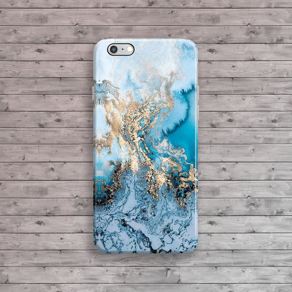 iPhone 6 Case Marble Blue Gold iPhone Case Granite by ByKustomKase