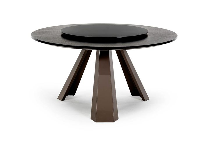 T8958 Contemporary Round Wenge Dining Table W Glass Lazy