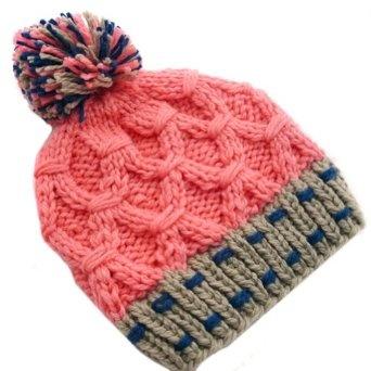 LOCOMO Men Women Boy Girl Criss Cross Cabled Pattern Multi Color Colorful Knit Beanie Crochet Rib Pom Pom Hat Cap Warm FAF025PNK Pink LOCOMO Hats. $12.99
