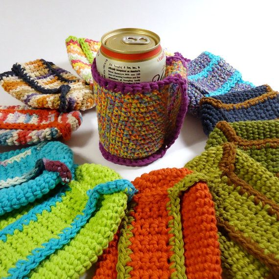 Crochet Patterns For Koozies : Beer Coozie Can Koozie Crochet Coozie with by ...