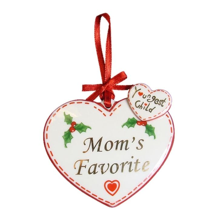 """Avon """"Youngest Child Mom's Favorite"""" Heart Christmas Ornament"""