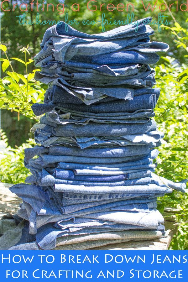 Spread the love: About once in a blue moon, someone will give me just a giant amount of blue jeans, like an entire Rubbermaid bin's worth. Now, I craft with old denim pretty often, but I can't