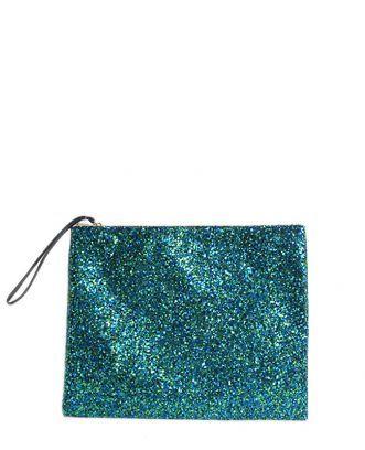 www.lafemmecorreggio.com Maxi busta in glitter blu verde. misura 32 x 26 cm. Foderata in tessuto. Chiusura zip.  Articolo: 1790 LAMG 010 glitter nero Anniel