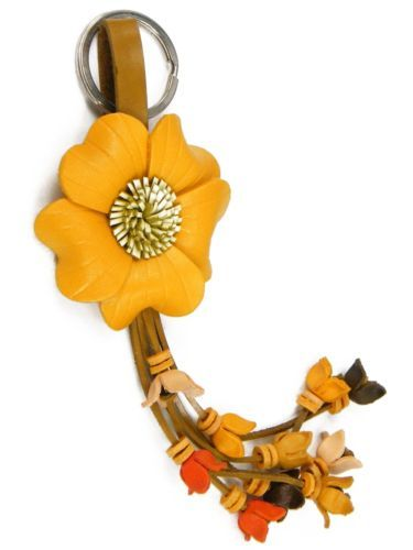 Leather Flower Bag Purse Charm Key Chain Ring Yellow Rose AAB2 | eBay