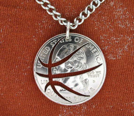 Basketball Quarter hand cut coin by NameCoins on Etsy, $24.99   I really want this!! so cool
