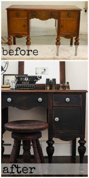 Vanity/desk reveal   furniture redo   typewriter milk paint   before & after   milk paint