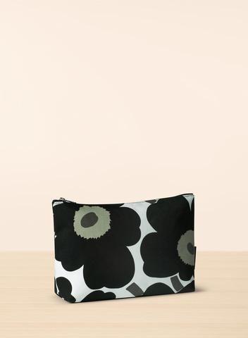 MARIMEKKO RUUT COSMETIC BAG BLACK, WHITE  This canvas bag is lined with waterproof material to prevent spills and stains. #unikko #cosmetics #cosmeticbag #bag #pouch #black #white #blackandwhite #poppy #poppies #marimekko #pirkkoseattle #pirkkofinland