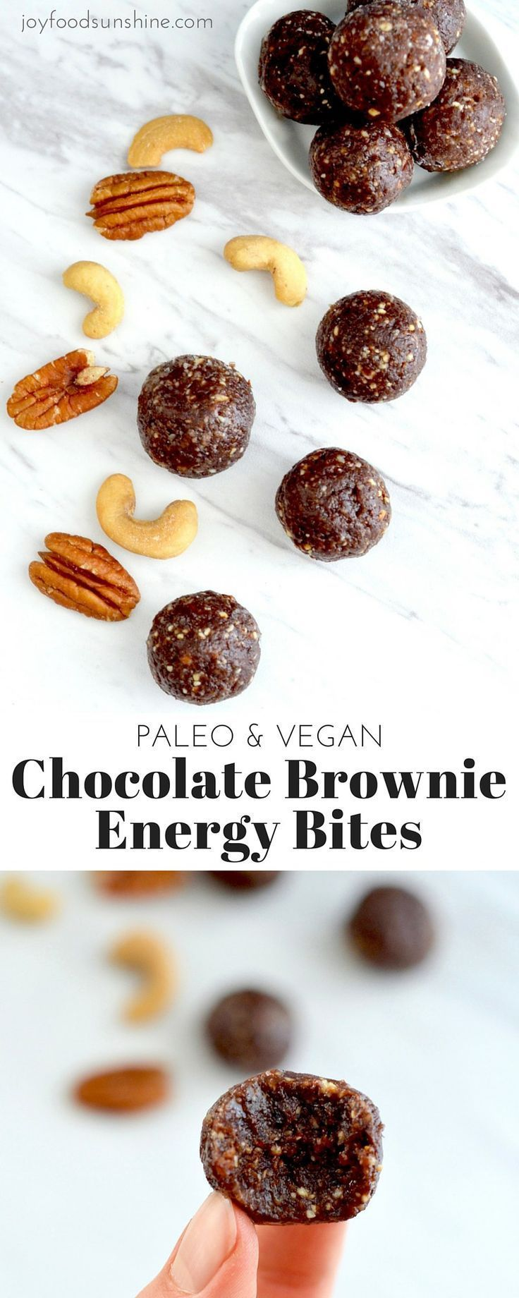 Paleo Chocolate Brownie Energy Bites Recipe! 5 minutes and 8 ingredients is all it takes to make this healthy snack! Vegan, gluten-free, dairy-free & date sweetened!