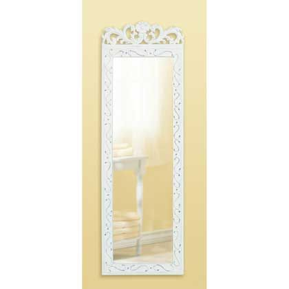 Elegant+White+Wall+Mirror A floral crown and embossed flourishes grace a weathered white wood frame mirror that reflectslife's romantic moments.