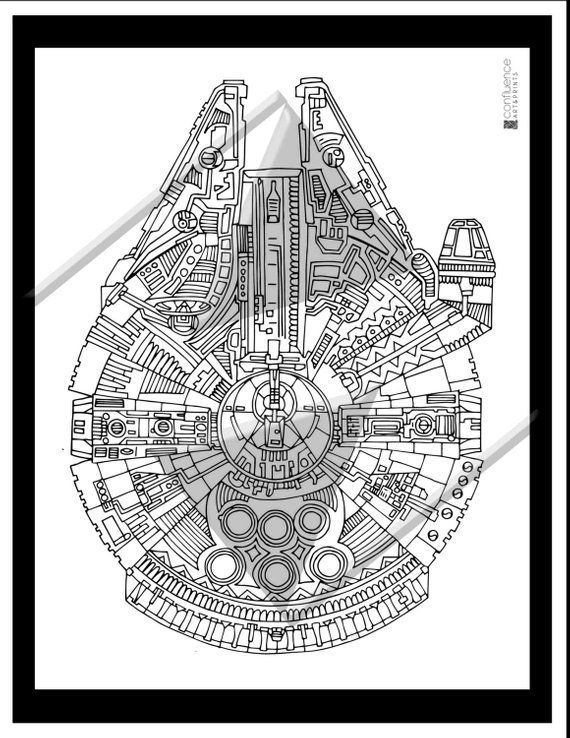 Star Wars Coloring Page, Millenium Falcon Coloring page, Printable ...