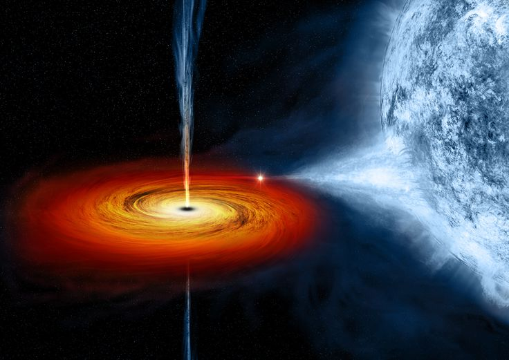 Black Holes Can Get Really Big, And We Have No Idea Why--Illustration of Cygnus X-1, a stellar-mass black hole located 6070 ly away. (NASA/CXC/M.Weiss)