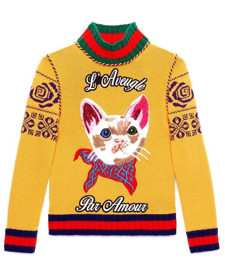 Gucci Dark Yellow Cat Embroidered Merino Wool Turtleneck Knit Sweater