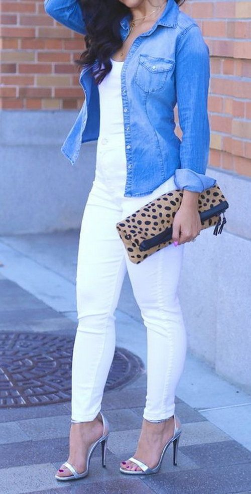 All white, a little denim & some leopard with the Love,Cortnie 'Spotted