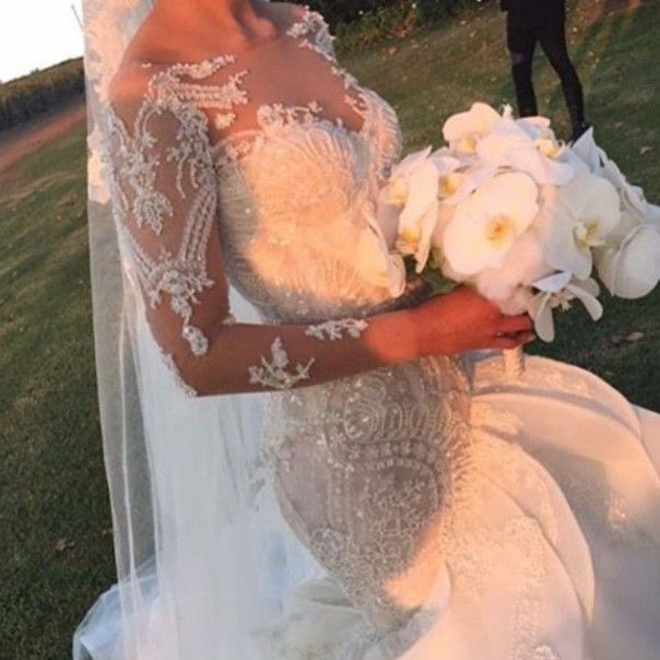 Luxurious Long Sleeves Lace Mermaid Wedding Dresses with Appliques