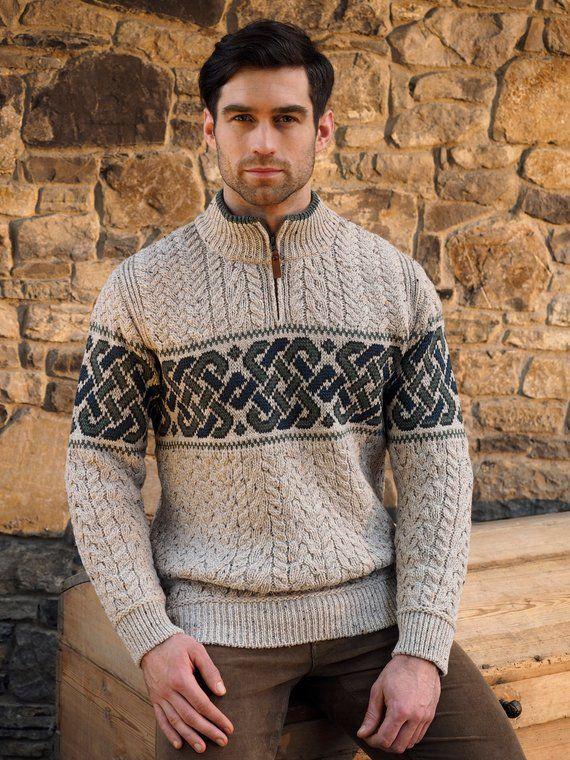 8be7b2240c961c Irish Sweater - Half Zip Celtic Irish Sweater - 100% Soft Merino ...