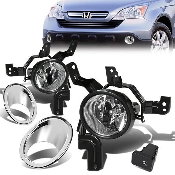 07-09 Honda CRV Driving Front Fog Lights Lamps – w/Switch – Clear – Pair