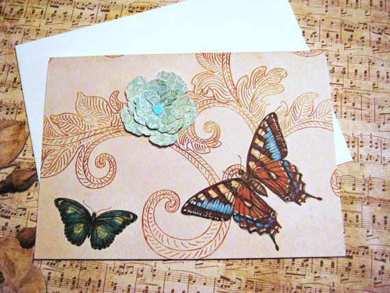 Butterfly note cards set of 8  Thank you card by littledebskis