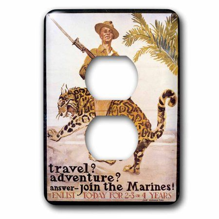 3dRose Vintage Travel Adventure Join the Marines Recruiting Poster, 2 Plug Outlet Cover