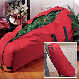 Christmas Tree Storage Bag has wheels... I Sooo need one as big and heavy as mine is!!