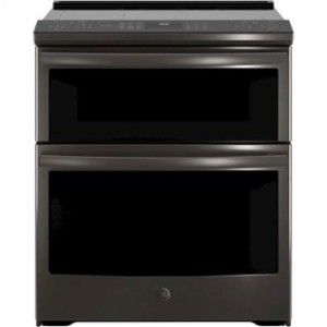 GE - 6.6 Cu. Ft. Slide-In Double Oven Electric Convection Range - Black stainless steel - Front_Standard