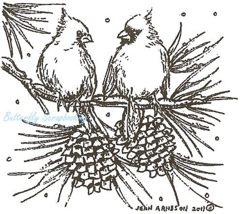Cardinal Birds on Pine Wood Mounted Rubber Stamp Northwoods Rubber Stamp New