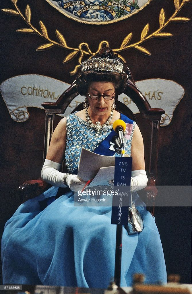 Queen Elizabeth ll presides over the State Opening of Parliament during her visit to the Bahamas in her Silver Jubilee year in October of 1977.
