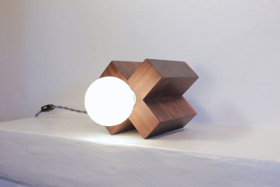 Table lamp desk lamp rustic modern wood // mid century vintage sculptural walnut lighting // nautical geometric decor