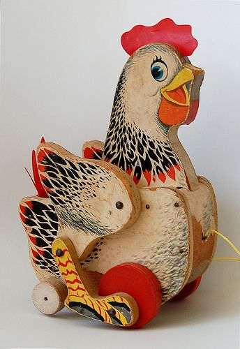 """""""Crackling Hen"""" Wooden Pull Toy by Fisher-Price ~ 1950′s – 1960′s"""