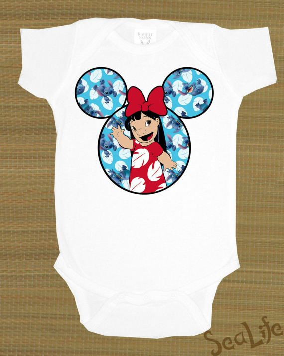 Disney's lilo and stitch, ohana, lilo,   Mickey Ears, You pick size & color, Baby Onesie, Customize with words, Pink, Blue, Purple,
