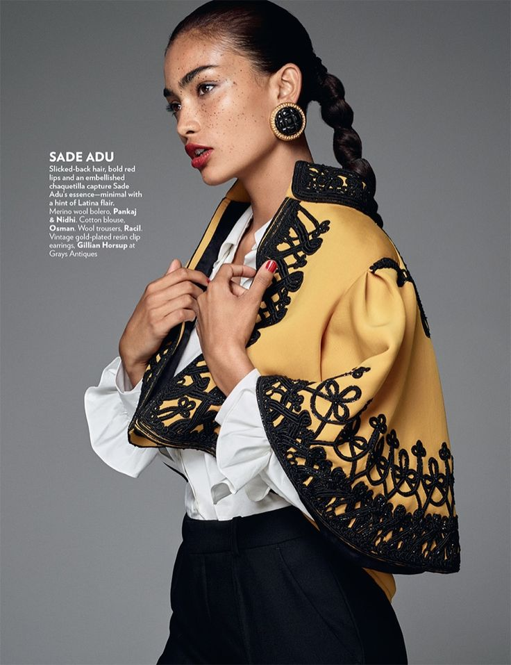 Model Kelly Gale wears a slicked back look as she channels Sade Adu