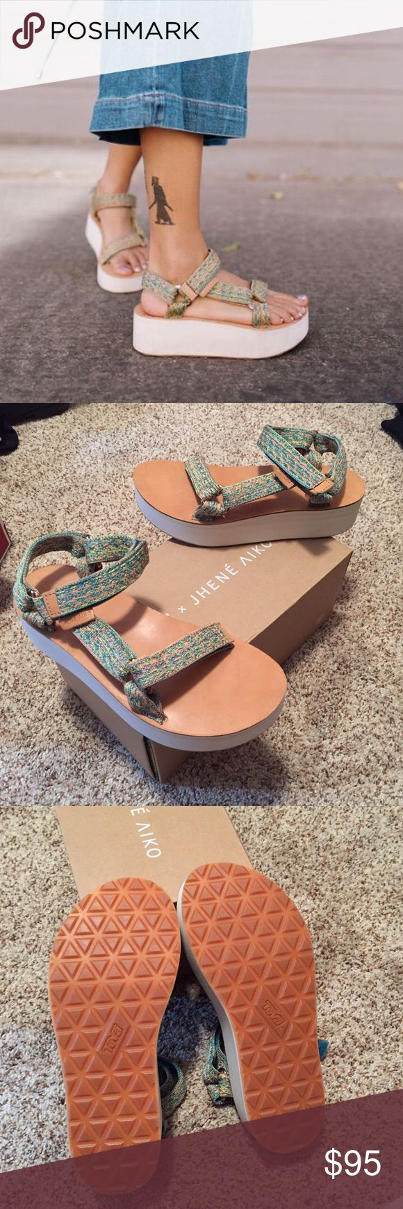 SALE NWT Jhene AikoxTeva Universal Platform brand new with tags, comes with original box. Jhene Aiko x Teva limited edition Collab. No trades. women's size 8. (original price is $70) THANKSGIVING SALE, SELLING AT LOWEST PRICE, THEREFORE NO OFFER WILL BE ACCEPTED Teva Shoes Sandals