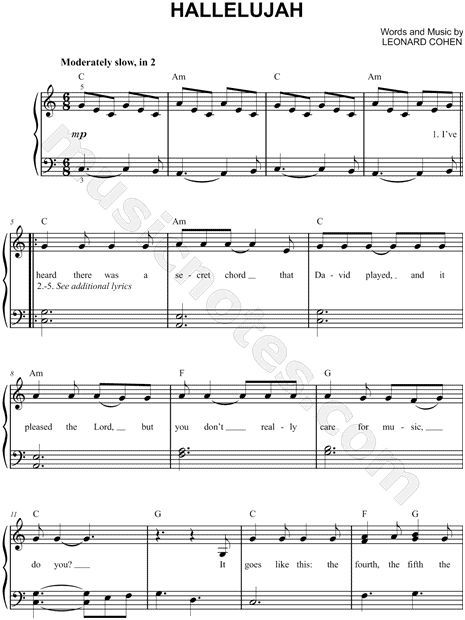 Leonard Cohen Hallelujah Sheet Music Page Two