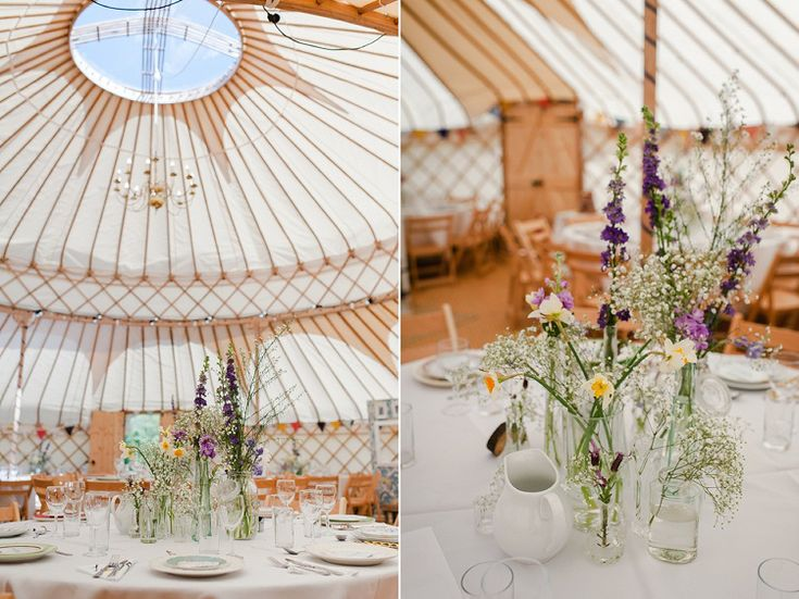 Yurts from Cheltenham Yurt Hire and British wild flowers in jars - Outdoor Woodland DIY Yurt Wedding at Cedar Field, Leicestershire © Alexa Loy Photography