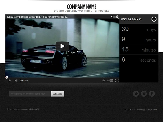 This responsive coming soon template features a working subscription form, video support for MP4, Vimeo, and YouTube, a jQuery counter, and more.