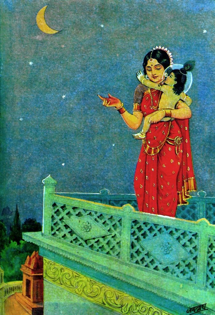Gorgeous old Indian painting with Mother Yashoda and Baby Krishna.