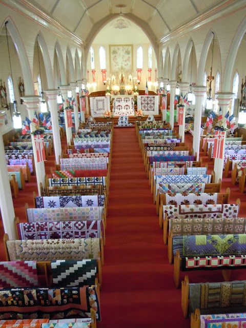 amazing quilt display  image in a small country church~