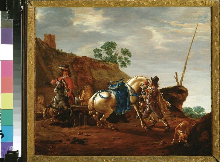 Pieter Cornelisz. Verbeeck, De weerbarstige schimmel (The recalcitrant white horse), 1630-1654. (collection) #franshalsmuseum #art #painting #horse