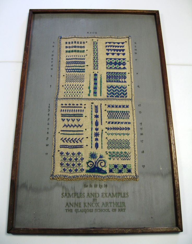 This display case shows examples of embroidery with beading. It is one of two cases we have in the collection with a known author, Anne Knox Arthur. She acted as head of the embroidery department at the GSA from 1928 until 1981. Archive reference: NMC/1628
