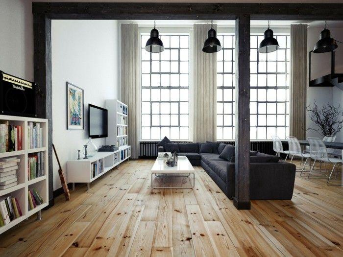 Wohnzimmer Lampe Hngelampen Schwarz Und Bodenbelag Holzoptik