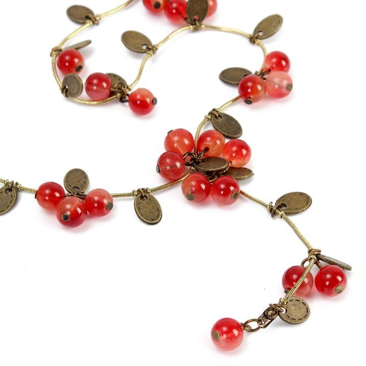 Red Cherries Beads Long Chain Necklace #Ethnic #jewelry