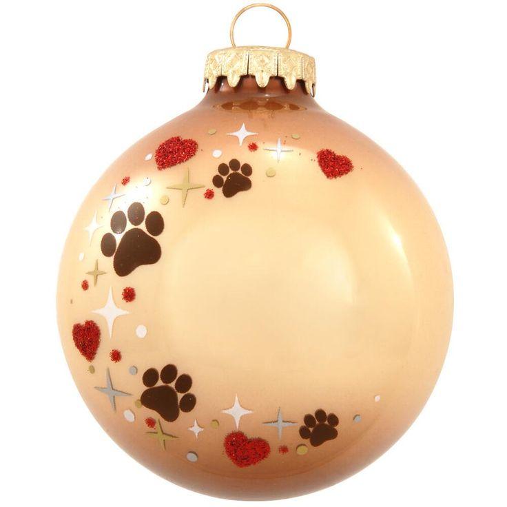 Personalized Pet Paw Print Heart Swirl Glass Ornament