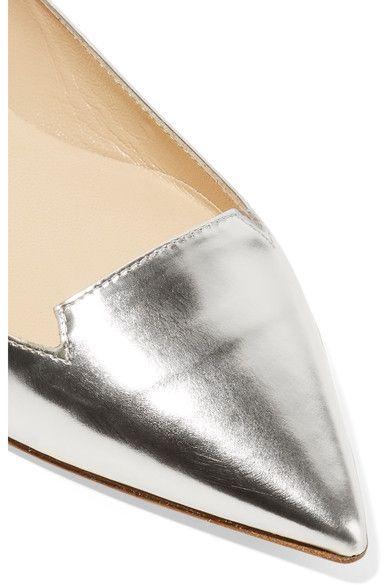 Jimmy Choo - Attila Mirrored-leather Point-toe Flats - Silver - IT38