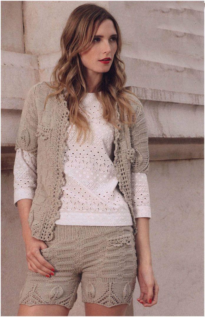 Женские коротенькие шортики: схема вязания спицами