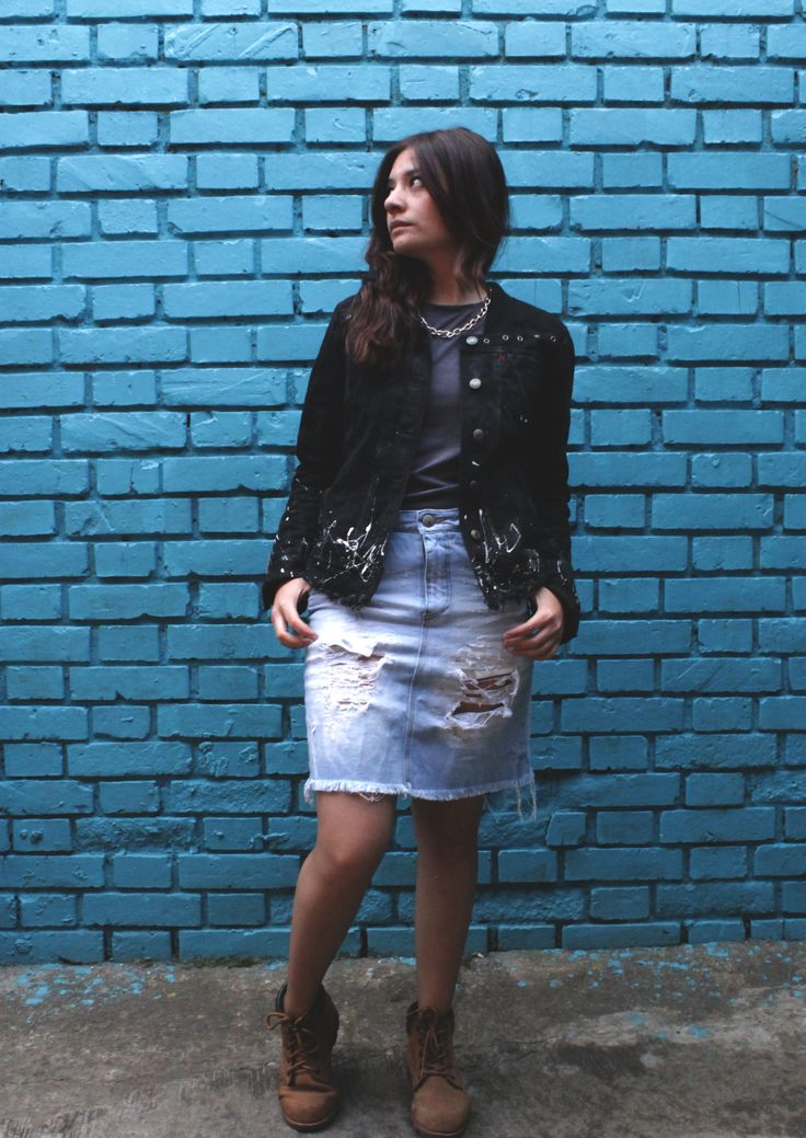 Jacket and Skirt denim by Dosharapos  The New Colombian brand #Girljacket #skirtdenim #blackdenim