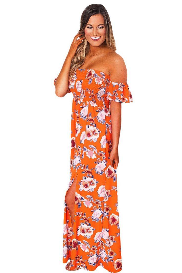 Orange Floral Print Elastic Bandeau Top Off Shoulder Boho Maxi Dress