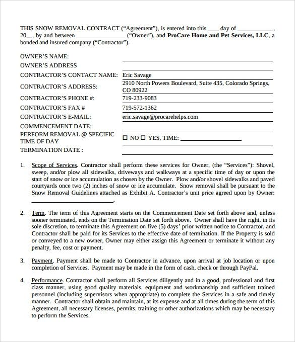 Free 6 Snow Plowing Contract Templates In Pdf Ms Word Google Docs Pages Snow Removal Contract Proposal Templates Graduation Announcement Template