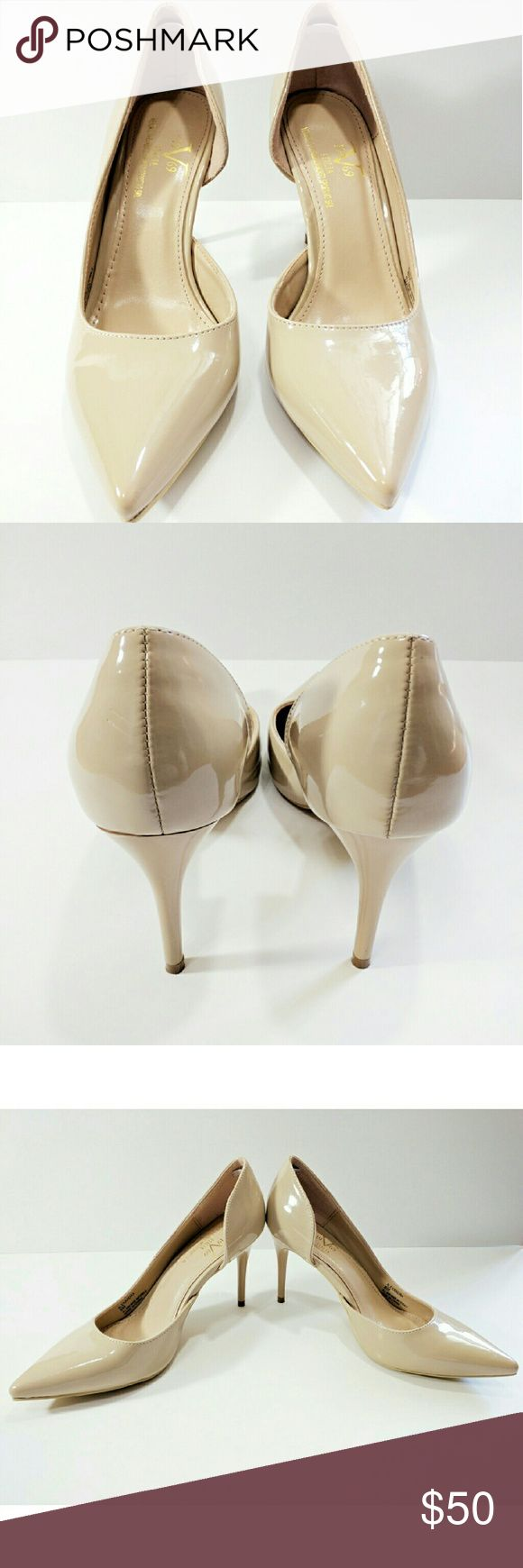 "Versace 19-69 Italia 3 1/2"" heels Great Condition! An elegant pair of glossy light tan or beige Versace 19-69 Italia Abbigliamento Sportivo SRL pumps  with pointed toe and arch cut-out not easy to find because most stores have discontinued or sold out of them. Versace Italia 19-69 Shoes Heels"