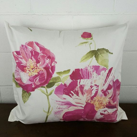 Spring Garden Pink Flower Cushion Cover by by PeacockandPenny